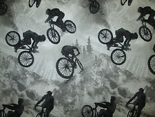 BMX RACING BIKE BICYCLE NATURE GRAY BLACK COTTON FABRIC FQ