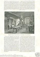 Salle à Manger de l'Auberge de l'Aigle d'Or Evron Mayenne GRAVURE OLD PRINT 1883