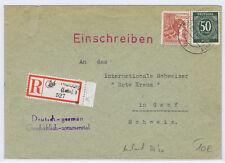All.Bes./Gem.Ausg., Mi.932,956 Not-R-Zettel MARBURG/LAHN a. Brief nach Genf/AKS