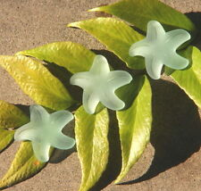 1Pc~Large~32mm~Top Drilled~Light Aqua~Frosted Seaglass Starfish Bead Pendant-