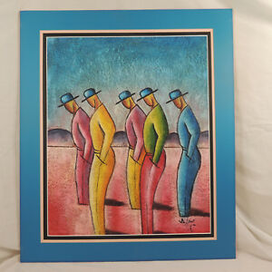 FIVE STANDING MEN by B Long Airbrushed Acrylic Coconut Fiber Canvas