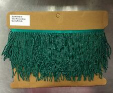 "By the Yard-4"" Glass GREEN Seed Bead Beaded Fringe Lamp Costume Trim"