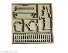 25 Wooden Shapes - Water Pump - Watering Can - Fence - Bench - 0172 - New Out