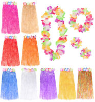 LONG HULA SKIRT 80CM WITH FLOWER WAISTBAND AND 4 PIECE LEI SET HAWAIIAN LUAU