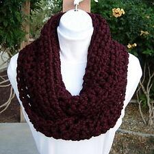 SCARF INFINITY LOOP Dark Burgundy Wine Red Handmade Crochet Knit Winter Cowl New