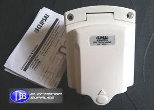 CARAVAN HORSE CAMPER TRAILER POWER INLET SOCKET 3 PIN 15A IP34 CLIPSAL 435VFS15