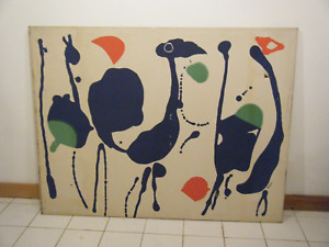"52"" Large Tom Tru Vintage 1970s MCM Modern Abstract Wall Silkscreen Print Gaynor"
