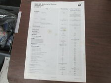 "BMW 11.75x16.5"" Dealer Service Data Poster 1997 R1200C R1200 C 01719799721"