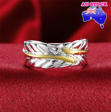 Wholesale 925 Sterling Silver Filled Adjustable Gold feather Plain Band Ring