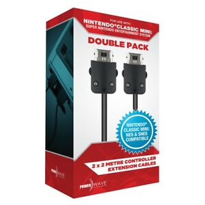Power Wave 2m Controller Extension Cable Double Pack for Classic Mini SNES / NES