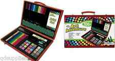 106 PIECE CHILDRENS ART ADVENTURE SET WOODEN STORAGE BOX PENCILS PAINTS AVS-544
