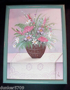 REAL LACE CLOTH WITH THICK PAINT FLOWERS WALL ART 13 1/2 X 17 1/2 IN WOOD FRAME