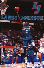 STARLINE POSTER~Larry Johnson 1993 W/ Muggsy Bogues Charlotte Hornets 22x34 Orig