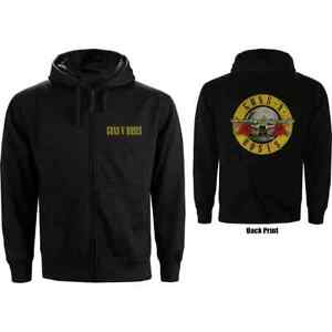 Guns N Roses - Classic Logo Back Print - Official Men's Black Zip Hoodie