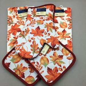 Home Collection Kitchen Set 5 Pieces Fall Leaves Oven Mitt Pot Holders Towels