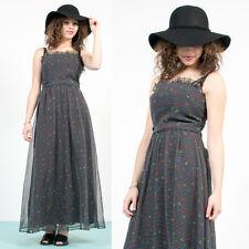 Da Donna vintage 70's nero astratto a strisce modello con Spalline Boho Prom Dress 8