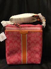 Coach Signature Pink Orange Stripe Swingpack Crossbody Purse Handbag F51265 NWT