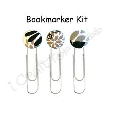 DIY Kit Fabric Covered Button Paper Clips / Book Markers - Makes 3