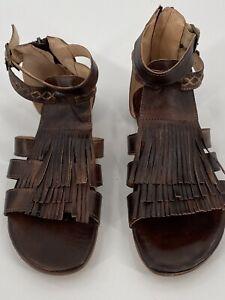NWOB Bed Stu Alena Sandals Brown Leather Fringe Gladiator Zipper 9M Teak Rust