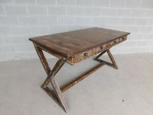 """Hooker Rustic Style Leather Top Writing Desk 60""""W"""