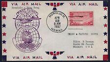 US HAWAII HONG KONG 1937 FIRST FLIGHT COVER FAM 14 HONG KONG VICTORIA CANCEL ON
