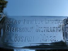 "Embossed 1800s Liquor Bottle ""Send For Our Catalogue Glenbrook Distilling Boston"