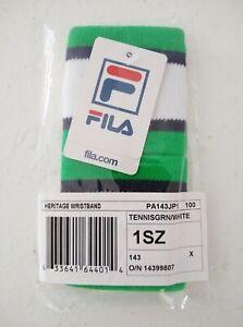 FILA Heritage Sweat Wristband Tennis Green & White - NIW - 1SZ - Pair of 2