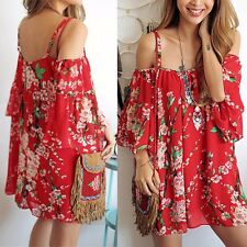 Sexy Women Summer Casual Off-shoulder Evening Party Beach Dress Short Mini Dress