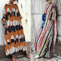 Plus Size Womens Cotton Linen 3/4 Sleeve Casual Vintage Kaftan Loose Maxi Dress