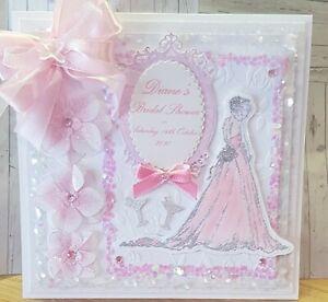 """Large Luxury """"8x8"""" Handmade Personalised Embellished Boxed Bridal shower card"""