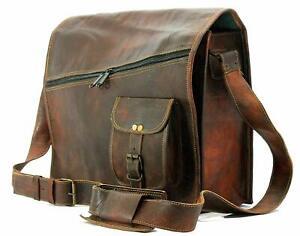 Handmade Goat Leather Retro Messenger Shoulder Cross Body Office Laptop Handbag