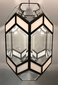 (CLEARANCE) White & Clear Bevelled Pendant Light RM19 RM20 BV40