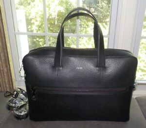 Reiss Black Pebbled Leather Isaac Brief Case Messenger Shoulder Bag NWT $375
