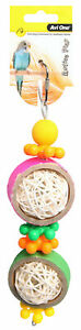 Avi One Destructable Toy Rattan Balls With Plastic Beads Budgie Parrot Canary