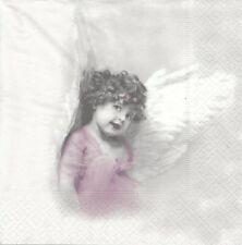 2 Serviettes en papier Fille Ange Paper Napkins Cute Angel Girl Sagen Vintage