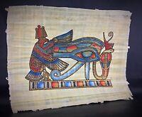 Grand 43x33 cm original papyrus Egypte Oeil d'Horus Peinture et dorure