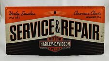 Superb LARGE Embossed Harley Davidson Service Tin Plate Wall Sign 25cm x 50cm