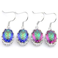 Handmade Shiny 2 Pcs 1 Lot Natural Rainbow Fire Topaz Silver Dangle Earrings Set