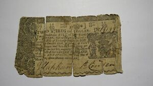 1770 $2/3 Annapolis Maryland MD Colonial Currency Note Bill! Revolutionary War!