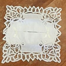 """IVORY DAMASK WITH ELEGANT LACE FABRIC TISSUE BOX COVER 5/"""" X 10/""""  X 5/"""""""