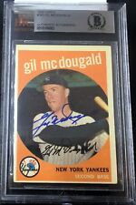 1959 TOPPS #345 GIL McDOUGALD RARE BAS BECKETT SIGNED CARD AUTOGRAPHED AUTO !