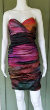 NWT NICOLE MILLER Strapless Ruched Crinkled Wiggle Corset Dress 6 $485