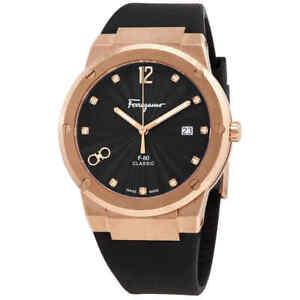 Salvatore Ferragamo F-80 Quartz Diamond Black Dial Men's Watch SFDT01720
