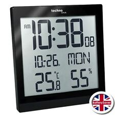 Technoline WS8015 Digital LCD Wall Clock with Temperature and Humidity - BLACK
