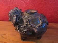 Very rare antique Cambodia Khmer stoneware elephant lime pot