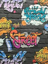 Feature Wallpaper 3D Black Brick Effect Graffiti Funky Modern Street style Urban