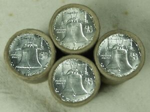 1 Silver Half Dollar Roll Franklin Walking Liberty Barber 90% BU D Franklin Ends