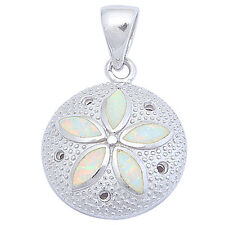 White Opal Sand dollar .925 Sterling Silver Pendant 30mm