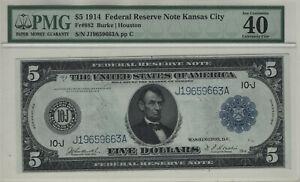 1914 $5 FEDERAL RESERVE NOTE KANSAS CITY FR.882 BURKE / HOUSTON PMG XF EF 40 EPQ