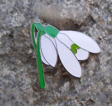 Beautiful Galanthus White Snowdrop Spring Flower Bloom Pretty Brooch Pin Badge